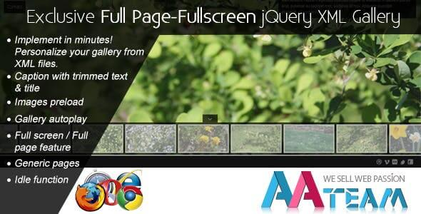 Exclusive Full Page-Fullscreen jQuery XML Gallery