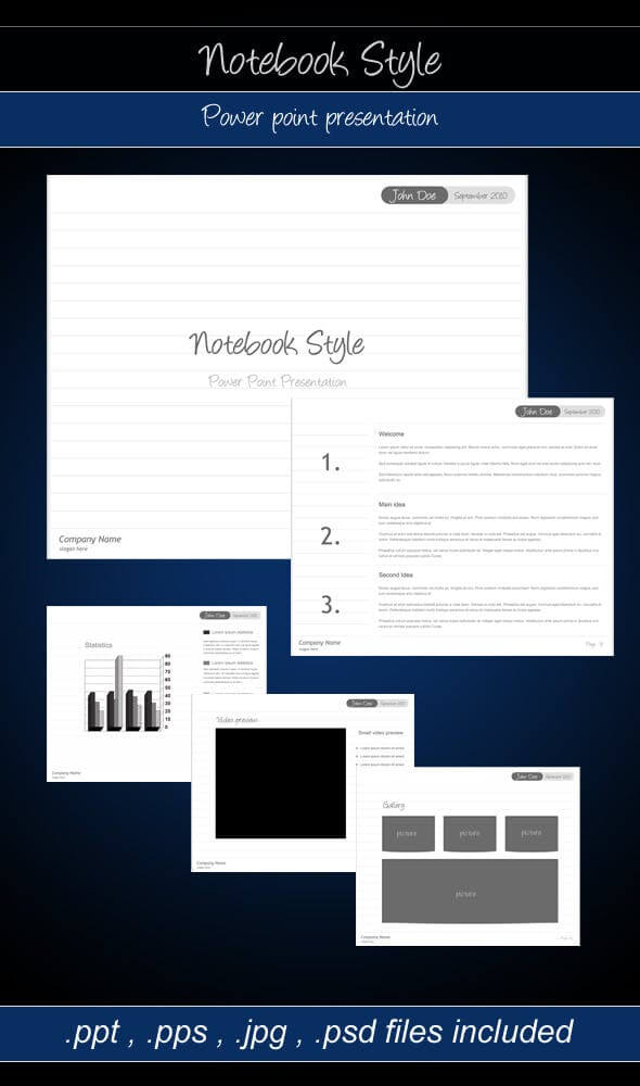 Notebook Style – Power point presentation
