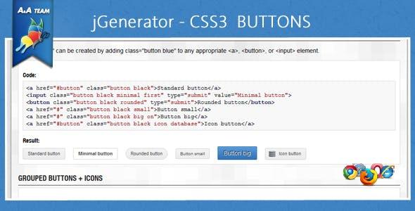 jGenerator – CSS3 Buttons